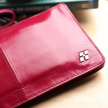 HAUT TON Women Wallet Genuine Leather Zip Clutch Checkbook Purse with Wrist Strap - ROSE RED ROSE RED
