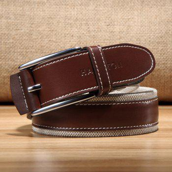 HAUT TON Men's Design Business Casual Canvas Genuine Leather Belt - BROWN 47-48 INCH/120CM