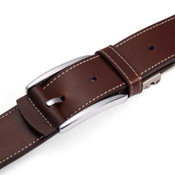HAUT TON Men's Design Business Casual Canvas Genuine Leather Belt - BROWN 45-46INCH/115CM