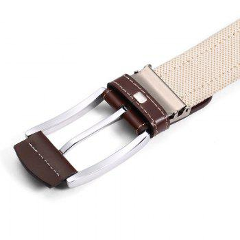 HAUT TON Men's Design Business Casual Canvas Genuine Leather Belt - BROWN BROWN