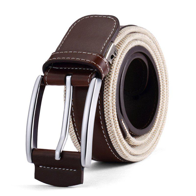 HAUT TON Men's Design Business Casual Canvas Leather Belt - BROWN
