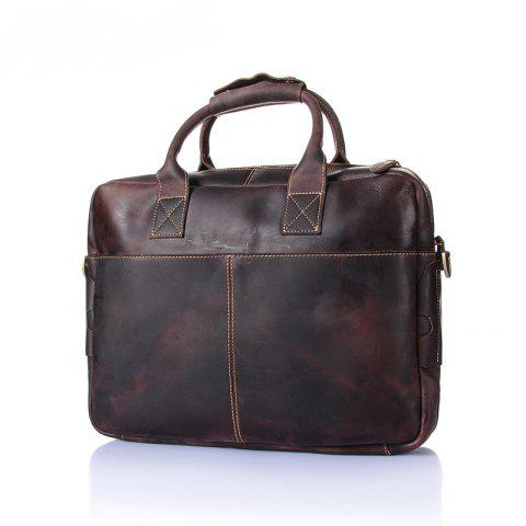 AUGUR Handbag Shoulder Messenger Bag Genuine Leather Men Computer Bag - BROWN