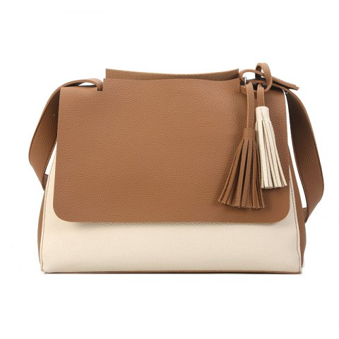 New Simple Women Contrast Color Shoulder Bags Fringed Bag - KHAKI
