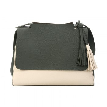 New Simple Women Contrast Color Shoulder Bags Fringed Bag - GREEN GREEN
