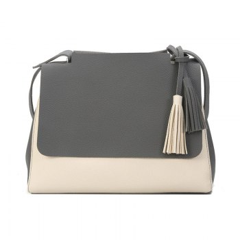 New Simple Women Contrast Color Shoulder Bags Fringed Bag - GRAY GRAY