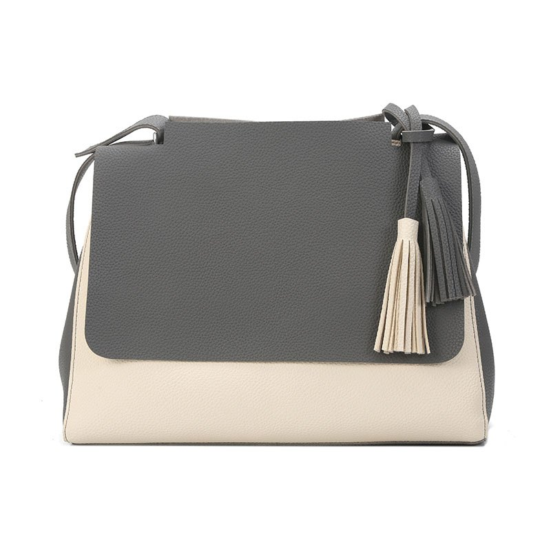 New Simple Women Contrast Color Shoulder Bags Fringed Bag - GRAY