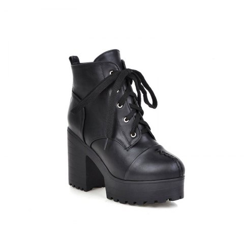 High Heeled Short Boots Waterproof Thick Heel Sole Boots - BLACK 43