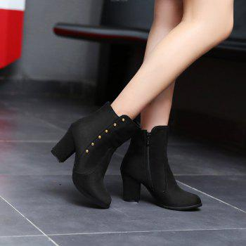 Women'S Bottines Rivets Ornament Mid Calf Solid Color Block Heel Boots - BLACK 34