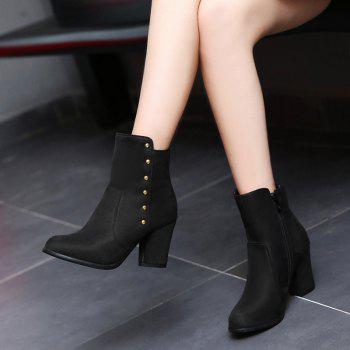 Women'S Bottines Rivets Ornament Mid Calf Solid Color Block Heel Boots - BLACK BLACK