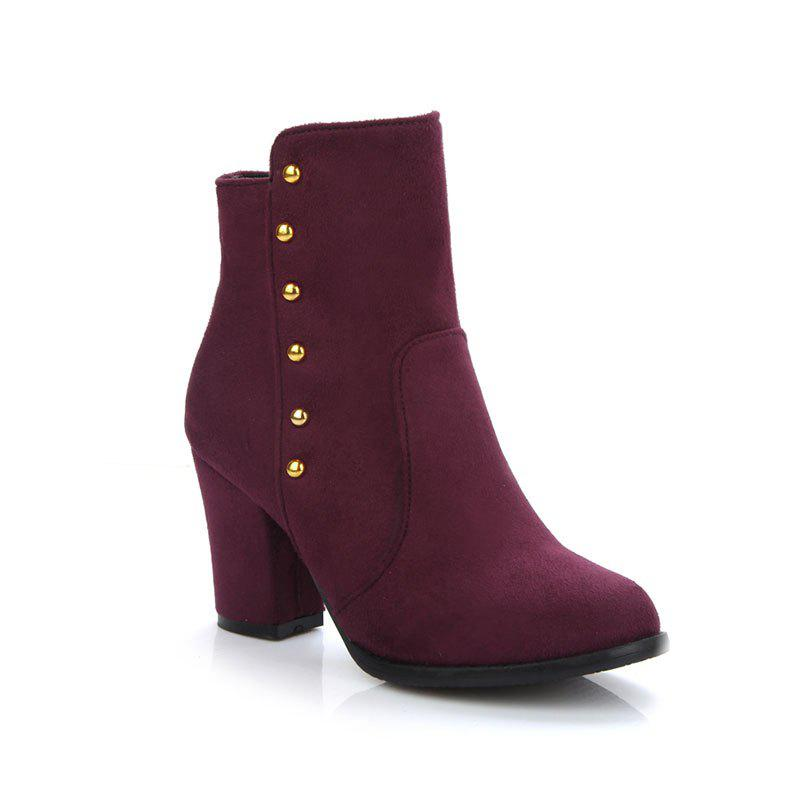 Women'S Bottines Rivets Ornament Mid Calf Solid Color Block Heel Boots - BURGUNDY 36