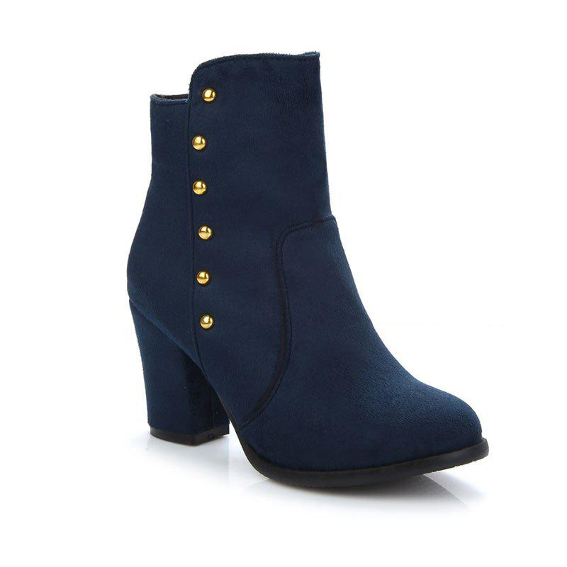 Women'S Bottines Rivets Ornament Mid Calf Solid Color Block Heel Boots - BLUE 34