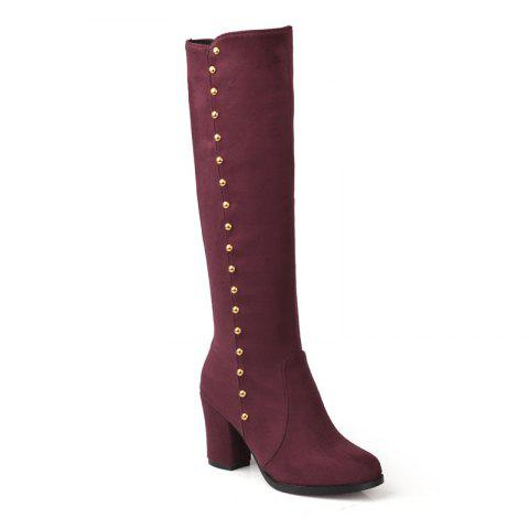 Women'S Boots Round Toe Matte Thick Heel Rivets Decor Fashionable Shoes - BURGUNDY 36