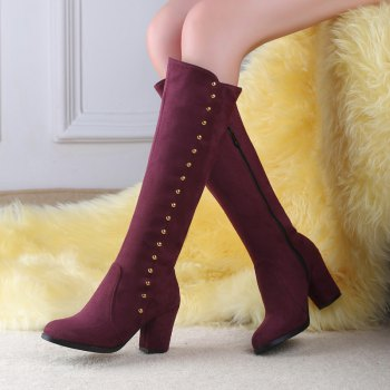 Women'S Boots Round Toe Matte Thick Heel Rivets Decor Fashionable Shoes - BURGUNDY 37
