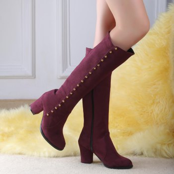 Women'S Boots Round Toe Matte Thick Heel Rivets Decor Fashionable Shoes - BURGUNDY 38