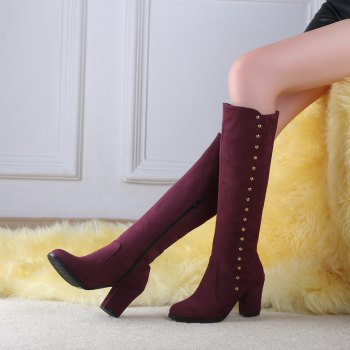 Women'S Boots Round Toe Matte Thick Heel Rivets Decor Fashionable Shoes - BURGUNDY 34