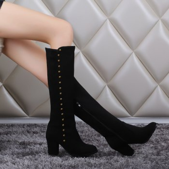 Women'S Boots Round Toe Matte Thick Heel Rivets Decor Fashionable Shoes - BLACK BLACK