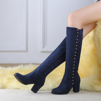 Women'S Boots Round Toe Matte Thick Heel Rivets Decor Fashionable Shoes - BLUE 42