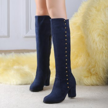 Women'S Boots Round Toe Matte Thick Heel Rivets Decor Fashionable Shoes - BLUE BLUE