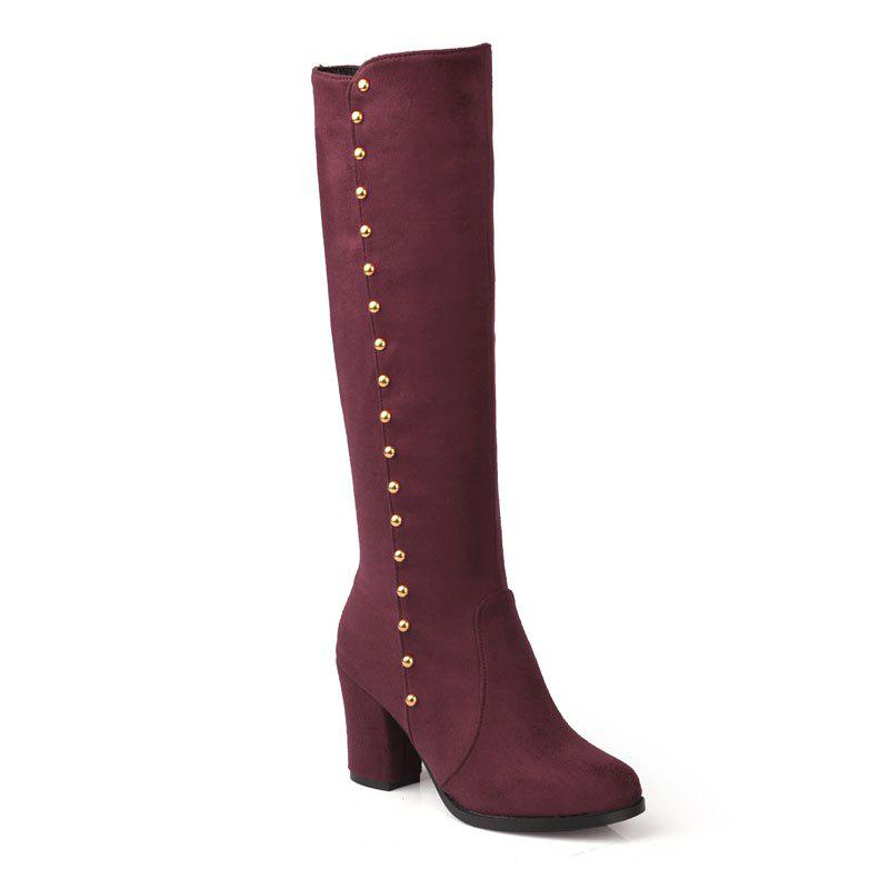 Women'S Boots Round Toe Matte Thick Heel Rivets Decor Fashionable Shoes - BURGUNDY 35