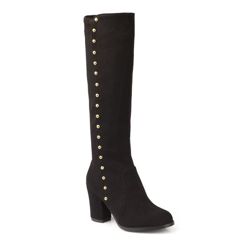 Women'S Boots Round Toe Matte Thick Heel Rivets Decor Fashionable Shoes - BLACK 36