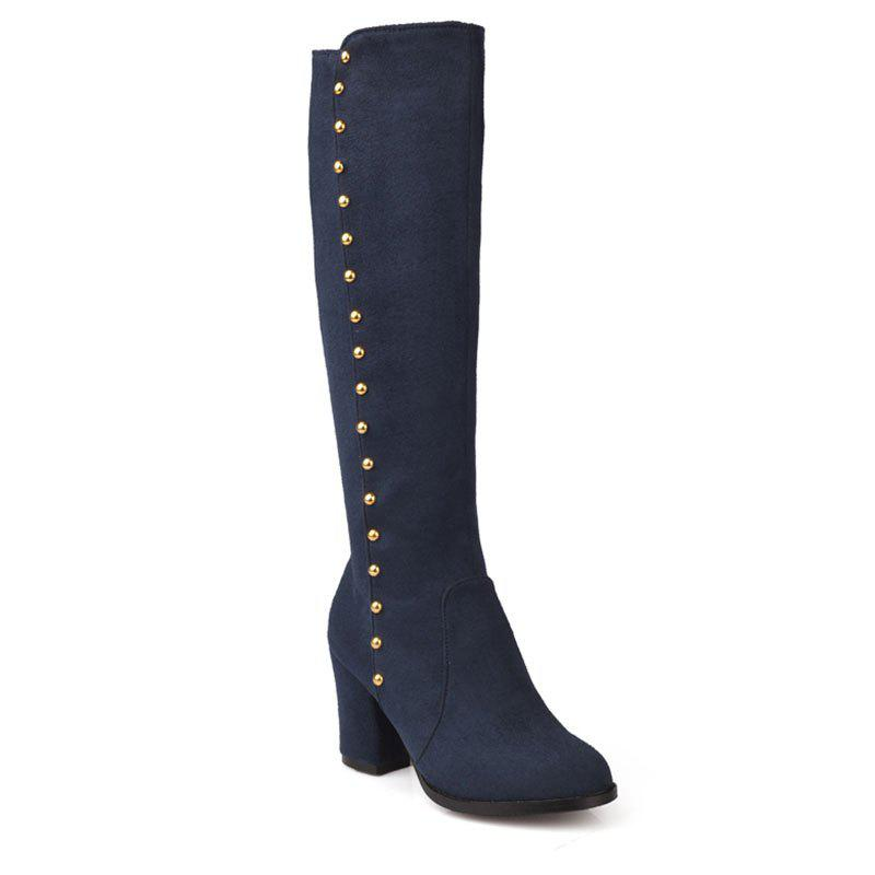 Women'S Boots Round Toe Matte Thick Heel Rivets Decor Fashionable Shoes - BLUE 34