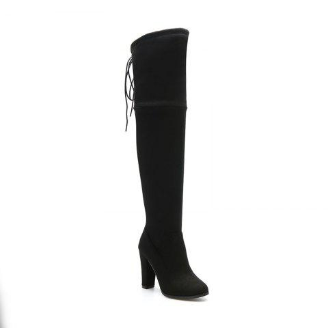 Women's Boots Above Knee High Thick Heel Solid Color All Match Fashionable Shoes - BLACK 44