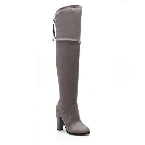 Women's Boots Above Knee High Thick Heel Solid Color All Match Fashionable Shoes - GRAY 46