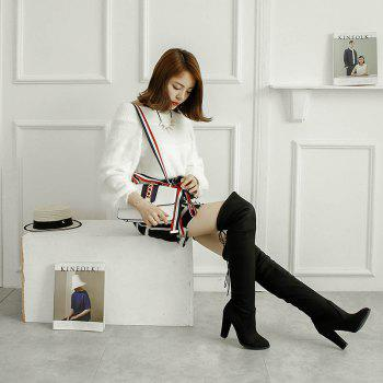 Women's Boots Above Knee High Thick Heel Solid Color All Match Fashionable Shoes - BLACK BLACK