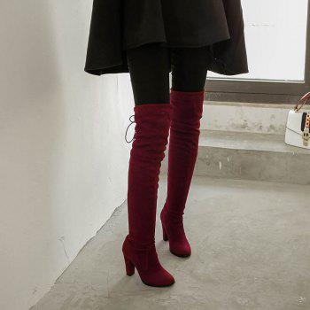 Women's Boots Above Knee High Thick Heel Solid Color All Match Fashionable Shoes - RED RED