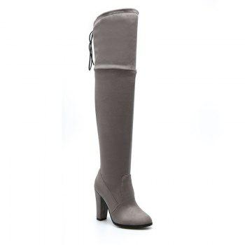 Women's Boots Above Knee High Thick Heel Solid Color All Match Fashionable Shoes - GRAY GRAY
