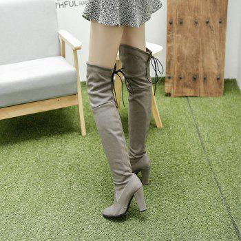 Women's Boots Above Knee High Thick Heel Solid Color All Match Fashionable Shoes - GRAY 43