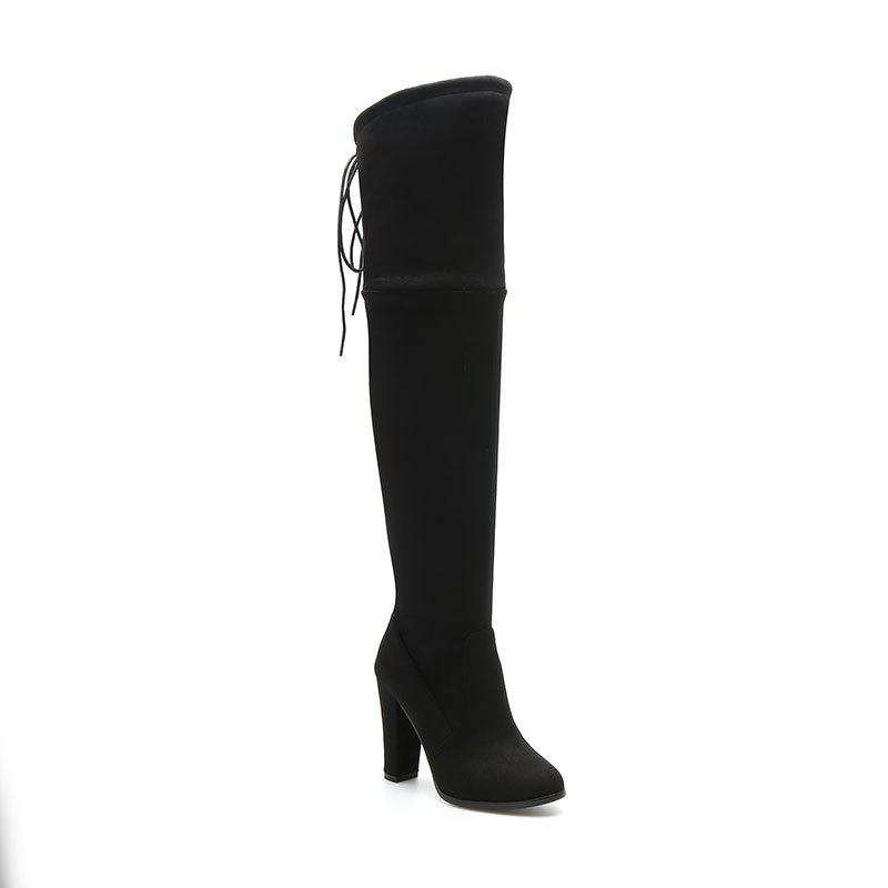 Women's Boots Above Knee High Thick Heel Solid Color All Match Fashionable Shoes - BLACK 42