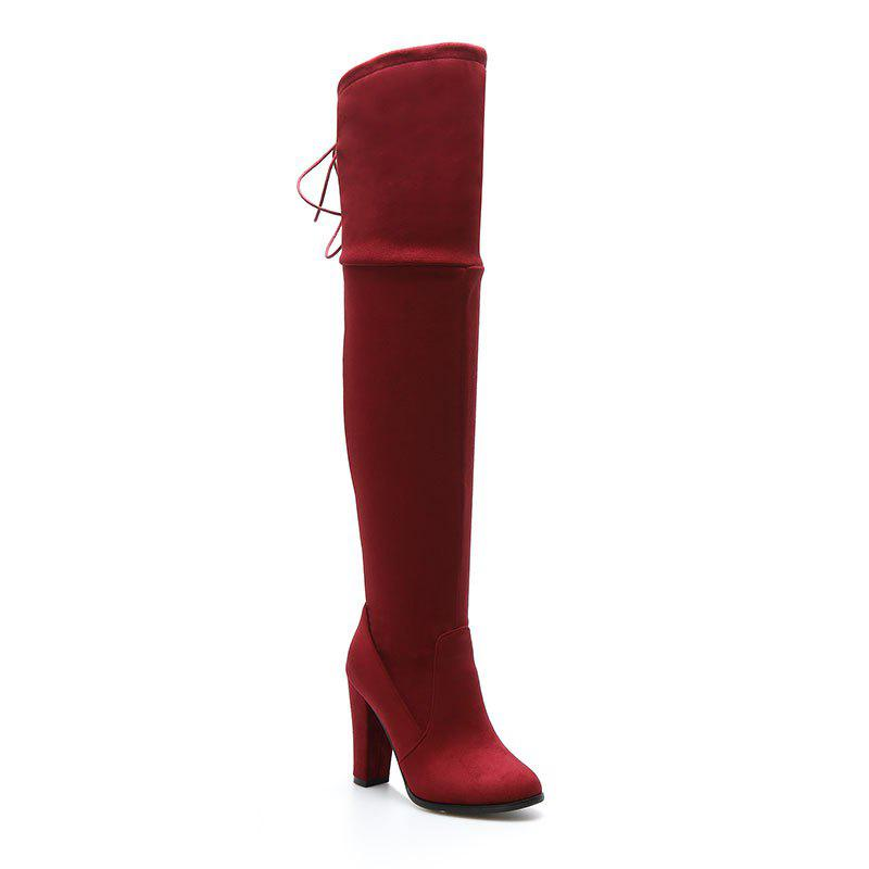 Women's Boots Above Knee High Thick Heel Solid Color All Match Fashionable Shoes - RED 34