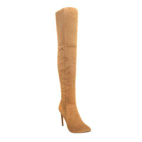Female Winter Boots Over The Knee Boots High Heel Suede Boots - YELLOW 34