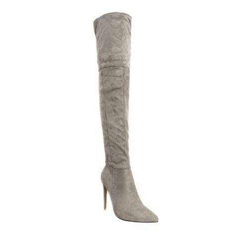 Female Winter Boots Over The Knee Boots High Heel Suede Boots - GRAY 34