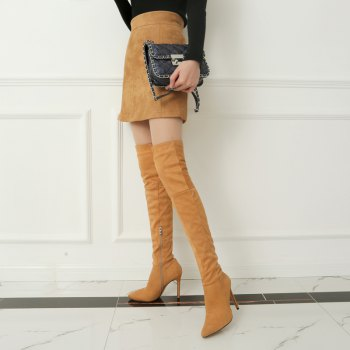 Female Winter Boots Over The Knee Boots High Heel Suede Boots - YELLOW 35