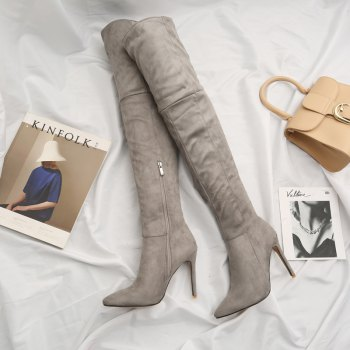 Female Winter Boots Over The Knee Boots High Heel Suede Boots - GRAY 43