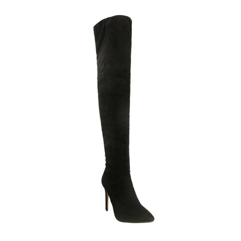 Female Winter Boots Over The Knee Boots High Heel Suede Boots - BLACK 34