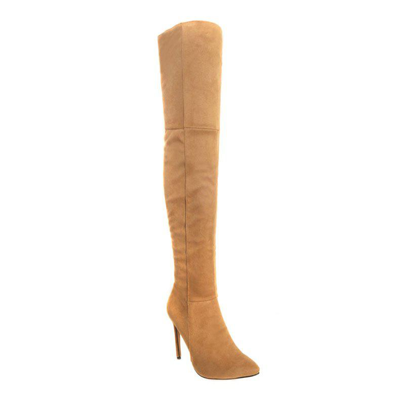 Female Winter Boots Over The Knee Boots High Heel Suede Boots - YELLOW 37
