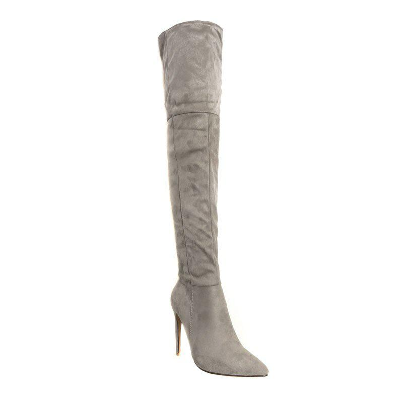 Female Winter Boots Over The Knee Boots High Heel Suede Boots - GRAY 44