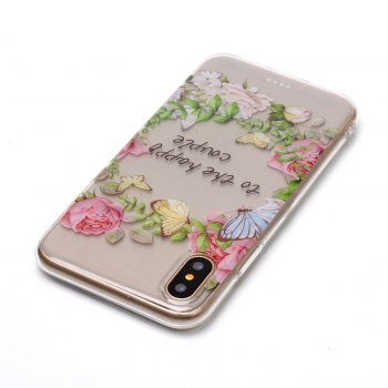 Rose Pattern Soft TPU Anti-scratch Back Cover Case for iPhone X - TRANSPARENT