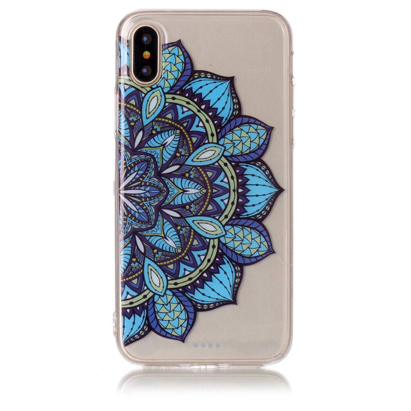 Flowers Pattern Soft TPU Antiscratch Back Cover Case for iPhone X - TRANSPARENT