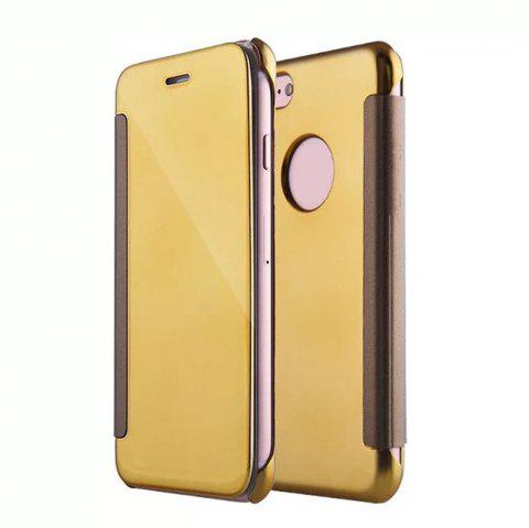 Luxury Mirror PU Leather Smart Flip Hard Protective Back Cover Case for iPhone 7 - GOLDEN