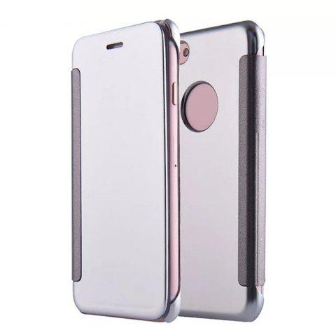 Luxury Mirror PU Leather Smart Flip Hard Protective Back Cover Case for iPhone 7 - SILVER