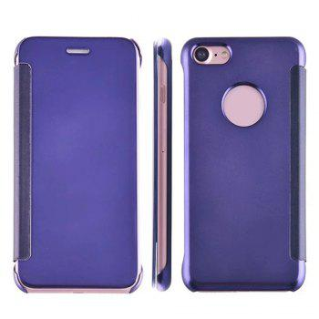 Luxury Mirror PU Leather Smart Flip Hard Protective Back Cover Case for iPhone 7 - CERULEAN