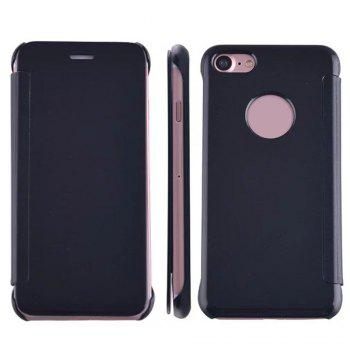 Luxury Mirror PU Leather Smart Flip Hard Protective Back Cover Case for iPhone 7 - BLACK