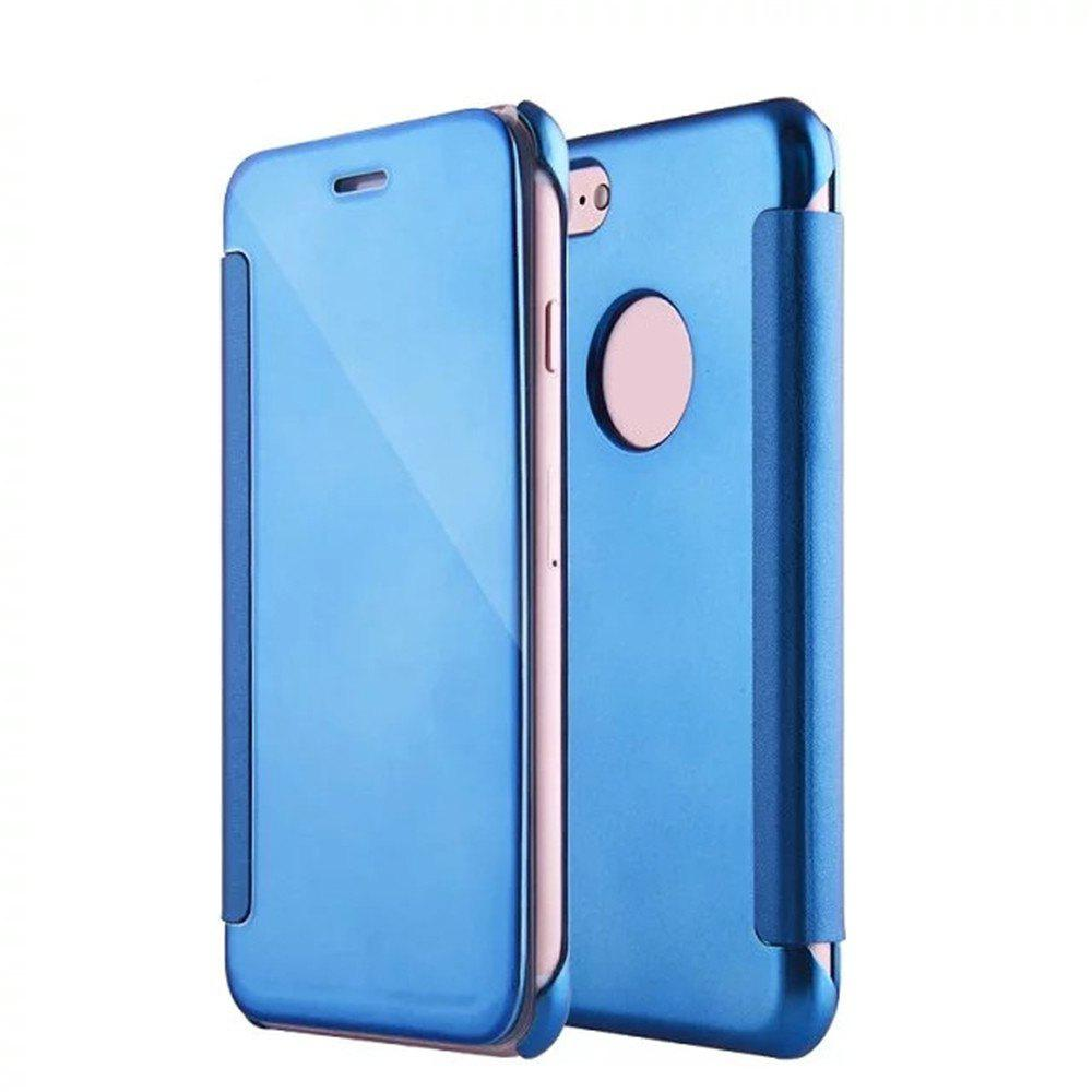 Luxury Mirror PU Leather Smart Flip Hard Protective Back Cover Case for iPhone 7 - WINDSOR BLUE