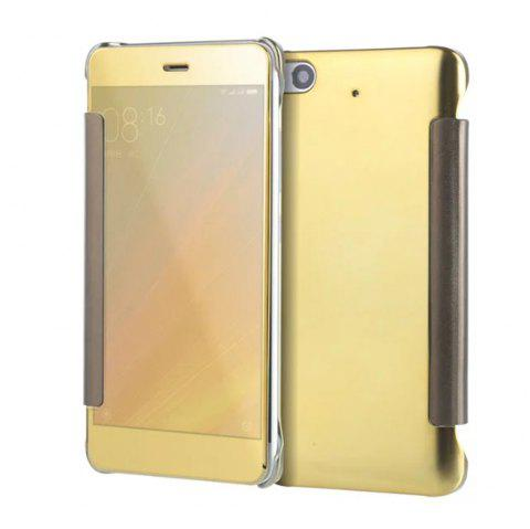 Luxury Mirror PU Leather Smart Flip Hard Protective Back Cover Case for Xiaomi 5S - GOLDEN
