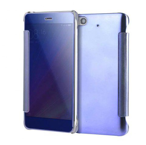 Luxury Mirror PU Leather Smart Flip Hard Protective Back Cover Case for Xiaomi 5S - CERULEAN