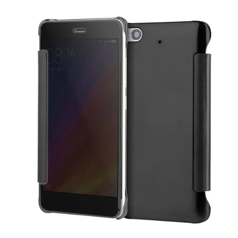 Luxury Mirror PU Leather Smart Flip Hard Protective Back Cover Case for Xiaomi 5S - BLACK